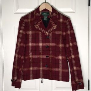 Ralph Lauren New Wool Red Plaid Jacket
